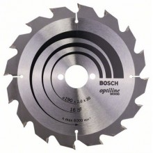BOSCH Pílový kotúč Optiline Wood, 190 x 2,0/2,0 mm, 16z, 2608641184