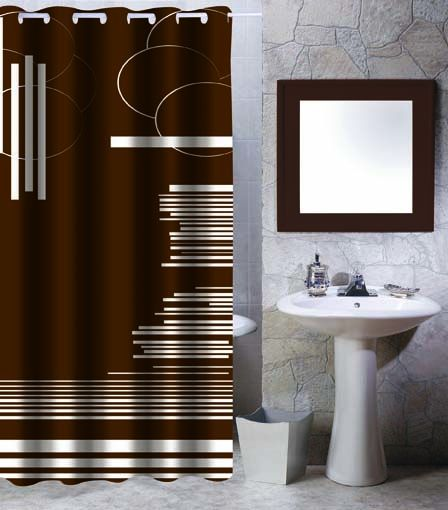 ARTTEC Sprchový záves - 180x200 cm - polyester - brown graphic MSV00527