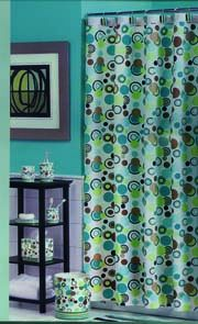 ARTTEC Sprchový záves - 180x200 cm - polyester - brown / blue / green rounds MSV00529